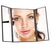 Luckybird 3-folder MakeUp Mirror with 8 Led Lights, Travel Mirror,mirror with lights (battery included)