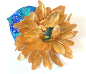 Gold and Blue Sparkly Hair Flower Clip