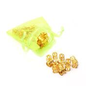 Savena Multi Colours Dread Lock Dreadlocks Beads Metal Cuffs Hair Decoration Filligree Tube 24pcs Pack