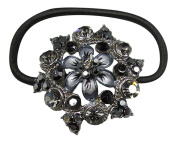 Fashionable Ponytail Holder with Jewels - Black Floral Shape