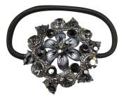 Fashionable Ponytail Holder with Jewels - Black Floral Shape
