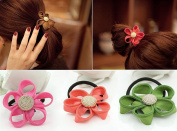10Pcs Fireboomoon Cute Girls Flower Hair Tie Bands Ropes Ponytail Holder Stretchy Elastic Hair Ropes Bands Styling Accessories