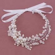 MSLAN Wedding Headbands for Bride - Bridal Headpiece Tiara with Bead - Hair Accessories Styling