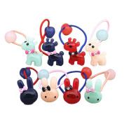 8Pcs Girls Boutique Colourful Deer and Rabbit Hair Ponytail Holders Set Girl's Hair Rope Ponytail Kids Holder Elastic