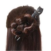 Classical Vintage Handmade Carved Ebony Fox Hair Sticks Bun Chignon Pins Cosplay Animal Creative Wood Hair Accessories Clip Antique Chinese Beauty