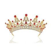 ULTNICE Birthday Wedding Bride Bridal Crown Baroque Tiara Barrettes Hairband Clip