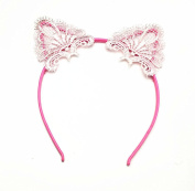 Akak Store Sexy Lovely Women Fashion Lace Cat Ears Headband Hair Accessories Pink