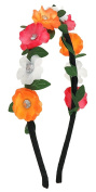 Capelli New York Girls Satin Cover Metal Headband with Flowers Warm Combo One Size