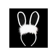 NEW LACE BUNNY EARS POM POM HEADBAND /WOMENS FASHION HEADBAND (One Size) MM6072WT