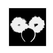 NEW BEAR EAR FEATHER POM POM HEADBAND /WOMENS FASHION HEADBAND (One Size) MM6032WT