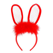 NEW LACE BUNNY EARS POM POM HEADBAND /WOMENS FASHION HEADBAND (One Size) MM6072RD