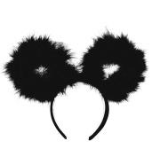 NEW BEAR EAR FEATHER POM POM HEADBAND /WOMENS FASHION HEADBAND (One Size) MM6032BK