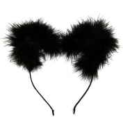 NEW CAT EAR FEATHER POM POM HEADBAND / WOMENS FASHION HEADBAND (One Size) MM6030BK