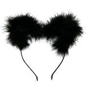 NEW CAT EAR FEATHER POM POM HEADBAND / WOMENS FASHION HEADBAND (One Size) MM6030BK