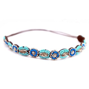 Akak Store Fashion Retro Style Handmade Crystal Rhinestone Beads Elastic Headband Hair Band Women Girls Hair Jewellery Accessories(#4)