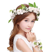 Uarter Flower Wreath Headband Floral Crown Garland Halo with Floral Wrist Band with Adjustable Ribbon for Wedding Festivals Photo Prop Gift