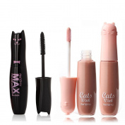 Ziaxa(TM) Waterproof Max Volume Black Mascara with Wheaten Nude Moisture Care Lip Gloss Makeup Set