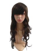 JoySusie Dk.Brown Long Wavy Wig Glamorous Women Long Wavy Wig with Free Wig Cap and Wig Comb -- Dk.Brown