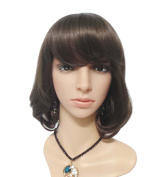 JoySusie Dk.Brown Short Loose Wave Wig Glamorous Women Short Loose Wave Wig with Free Wig Cap and Wig Comb -- Dk.Brown