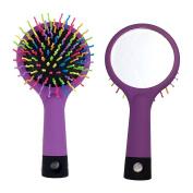 Savena Rainbow Straighten Curly Detangling Hair Brush with Mirror Air Bag Massage Hair Combs