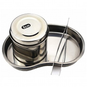 Q-COOL Munsu tool Stainless Steel Ointment Jar With Bending Surgical Tray Tweezer Kit