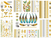 HQ Metallic Temporary Tattoos Sheet - Gold Silver Temporary Tattoos High Gloss Shimmer Effect For Face/Waist/Leg Tattoos - Halloween Costume Cosplay [10 Sheet]