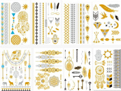 HQ Metallic Temporary Tattoos Gold Silver & Black Temporary Tattoos High Gloss Shimmer Effect For Face, Waist, & Leg Tattoos - Halloween Costume / Cosplay[30 Sheet]