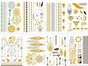 HQ Metallic Temporary Tattoos Gold Silver & Black Temporary Tattoos High Gloss Shimmer Effect For Face, Waist, & Leg Tattoos - Halloween Costume / Cosplay[30 Sheet]