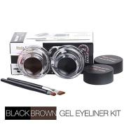Ziaxa(TM) Brand Makeup Long-lasting Gel Eyeliner Waterproof Cream Eye Liner Black & Brown + Brush