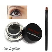 Ziaxa(TM) Makeup Waterproof Eyeliner Gel Cream Eyes Cosmetic Eye Liner with Brush Black/Brown/Blue