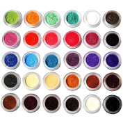 KOBWA 30 Pcs Mixed Colour Glitter Loose Powder Eye Shadow Makeup Cosmetics Eye Shadow for Party,Wedding,Fashion Show