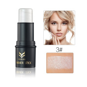 Meritina Face Waterproof Shimmer Highlighter Stick Bronzers Highlighter Powder Creamy Texture Silver Gold Light Face Makeup