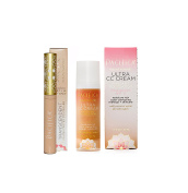 Pacifica Ultra CC Cream Radiant Foundation (Warm/Light) and Pacifica Transcendent Concentrated Concealer (Natural) Bundle with Indian Ginseng and Safflower, 30ml each