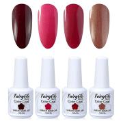 FairyGlo 4 Colour Gelish Nail Polish UV LED Soak Off Gel Manicure Beauty Varnish Nail Art Kit Gift Set Base Top 15ml 111