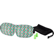 Fairy land 3D Sleep Eye Mask for Sleeping, Contoured Silk Blindfold Aeroplane with Ear Plugs, Travel Pouch, Best Night Blinder Eyeshade for Men/Women/Kids, Grass Green