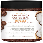 Body Essentials Raw Arabica Coffee & Coconut Milk Scrub - 100% Natural Ingredients - Cellulite and Wrinkle Reduction - Increase Circulation - Younger Healthier Skin - Stretch Marks - Spider Veins - Essential Oils - Vitamins - Shea Butter - Vitamin E