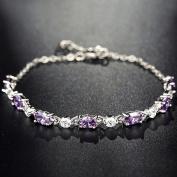 Eastlion Sterling Silver Bracelets Fashion Zircon Crystal Bracelet