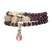 Eastlion Ethnic Wind Bracelet Natural Amethyst Bracelet Women Buddha Bead Bracelet