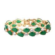 Eastlion Retro Zircon Bracelet Fashion Women's Bracelet,M,19CM,Jade Colour