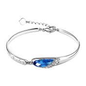 Eastlion Sterling Silver Blue Red Crystal Fashion Bracelet Natural Crystal Bangle Bracelet,Blue