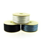 NYMO Nylon Beading Thread Size D for Delica Beads, 64 Yards per Bobbin, Black, Turquoise & ,Sterling