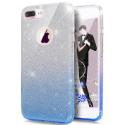 iPhone 7 Case,ikasus iPhone 7 Back Cover [Bling Glitter Sparkly] Premium 3 Layer Hybrid Semi-transparent Shinning Sparkle Protective Bumper Bling Glitter Case for iPhone 7 12cm - Gradient Blue