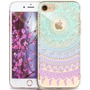 iPhone 5S Case,iPhone SE Case,iPhone 5 Case,ikasus Ultra Thin Soft TPU Datura Mandala Sun Lace Flowers Soft Silicone Rubber Bumper Case,Crystal Clear Soft Floral Silicone Case for iPhone 5S 5 SE,#7