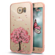 Galaxy S6 Case,ikasus Case for Galaxy S6,Crystal Clear Hard PC & TPU 2 IN 1 Pink Cherry Blossoms Flower Case Ultra Slim Flexible Soft Silicone TPU Bumper Rubber Protective Case for Galaxy S6,#1