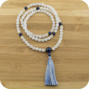 White Jade Meditation Beads Necklace with Lapis Lazuli