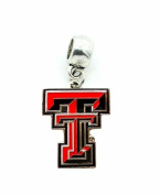 TTU TEXAS TECH UNIVERSITY RED RAIDERS CHARM SLIDER PENDANT ADD TO NECKLACE, EUROPEAN BRACELET, DIY, ETC.