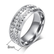 LEEYA NL10 Mens Womens 8MM Titanium Stainless Steel High Polished 18K Gold Plated Channel Set Cubic Zirconia CZ Promise Engagement Band Unisex Gold Wedding Ring Comfort Fit, Size 6-13