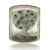 Plate of Tree of Life - Domar Artists - Hand painted ceramic plate adorned with a stunning décor of white and gold Platinum