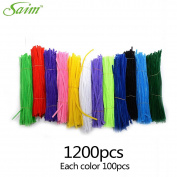 Saim 12 Colours Pipe Cleaners Chenille Stems 30cm for Creative Handmade Arts and Crafts