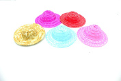 DIY Crafts 8.9cm Miniature Plastic Doll Hats Pack of 5 Colourful Hats